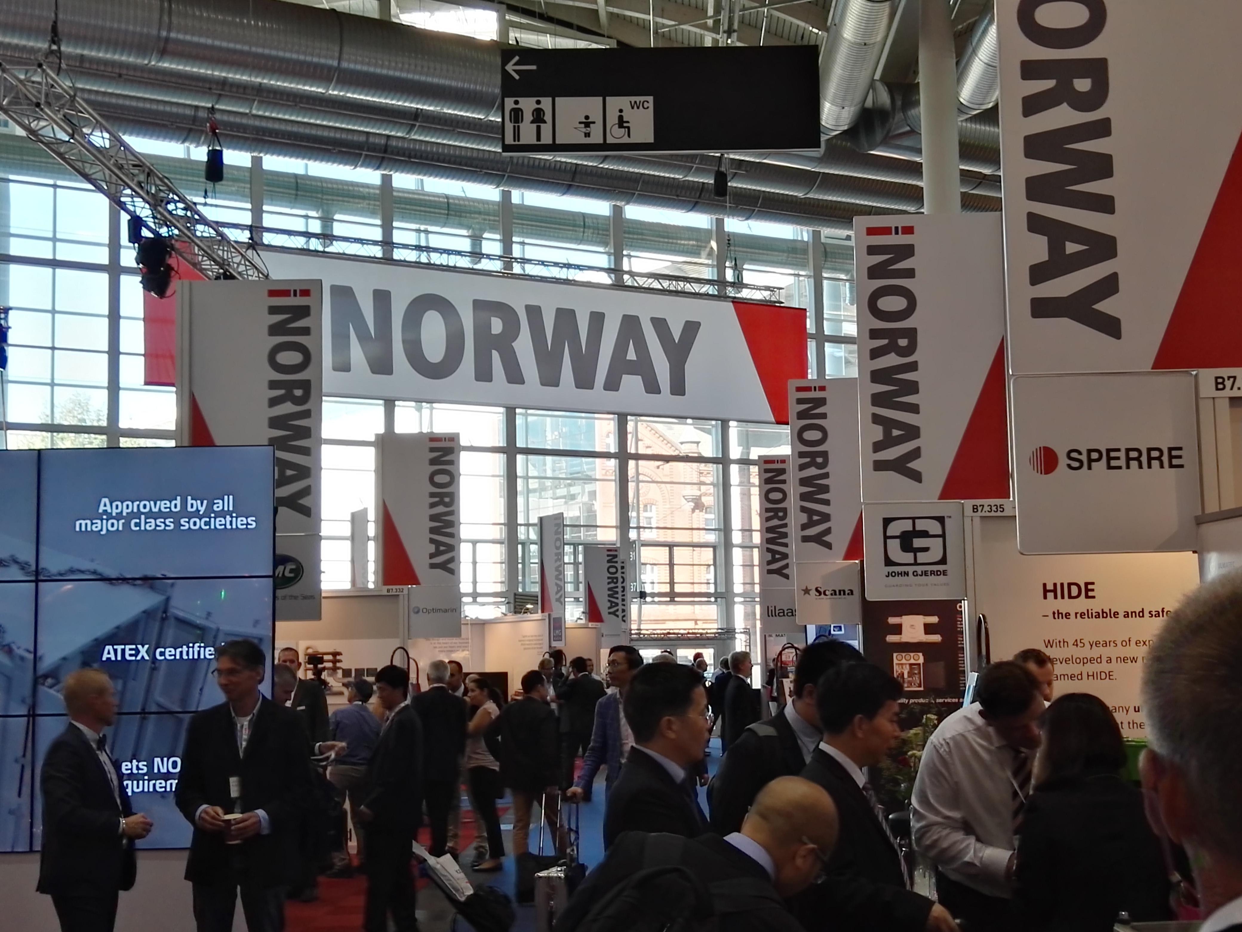 45 Unternehmen beteiligten sich auf der diesjährigen Schiffbaumesse SMM am norwegischen Gemeinschaftsstand.©JF