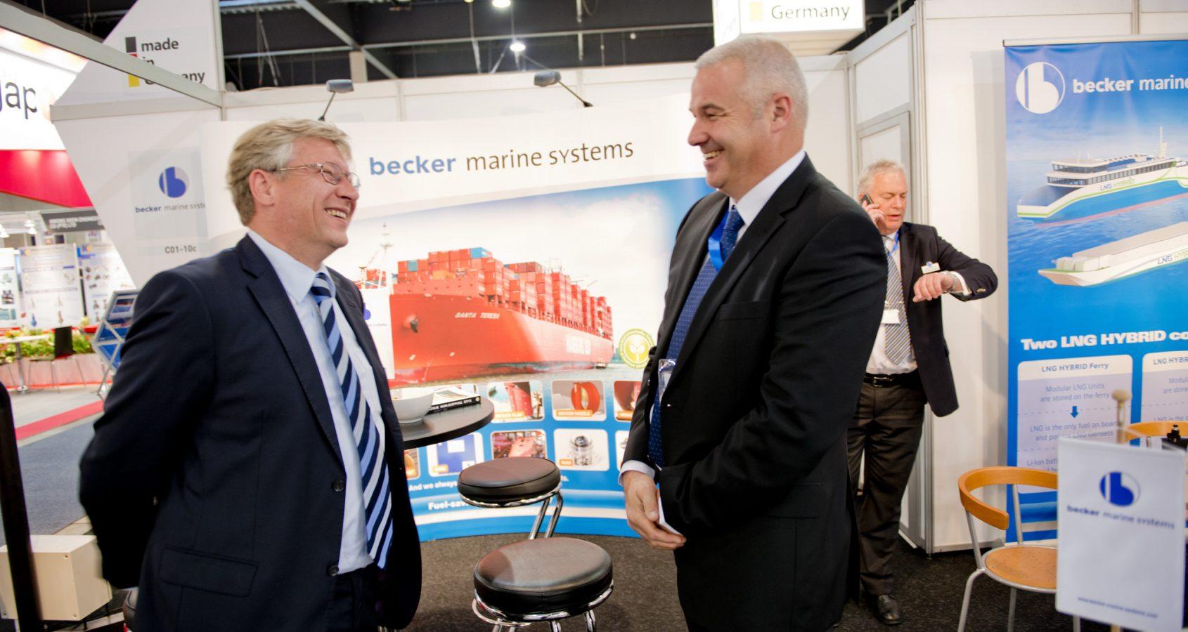 Stand des Unternehmens Becker Maritime Systems beim deutschen Pavillon der Nor-Shipping 2015©Nor Shipping