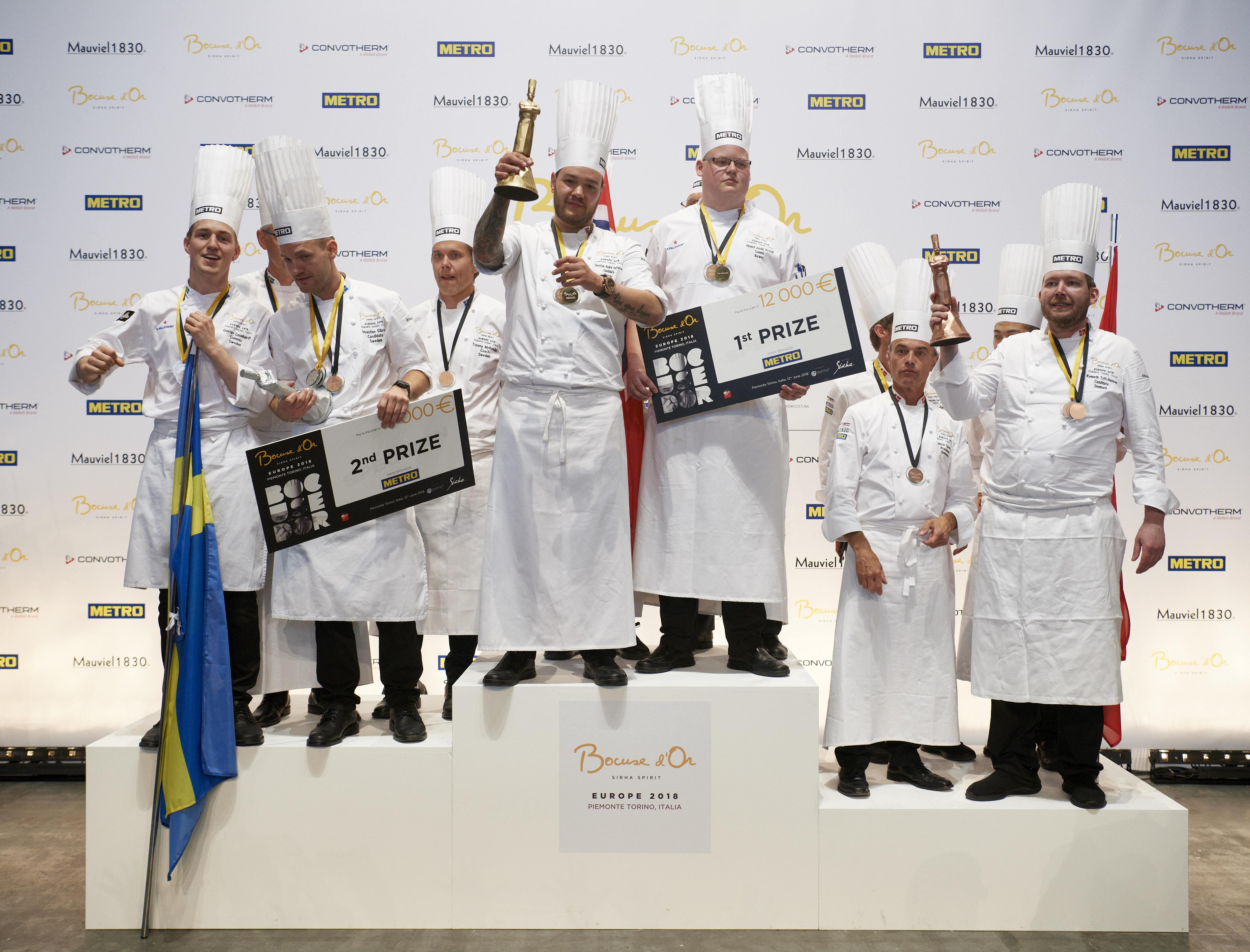 Norwegen stand zum wiederholten Mal ganz oben auf dem Siegerpodest des Kochwettbewerbes Bocuse d'O vor Schweden und Dänemark©Bocuse d'Or