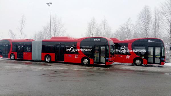 Zwei elektrische Gelenkbusse des chinesischen Unternehmend BYD sind bereits in Oslo im Einsatz.©BYD