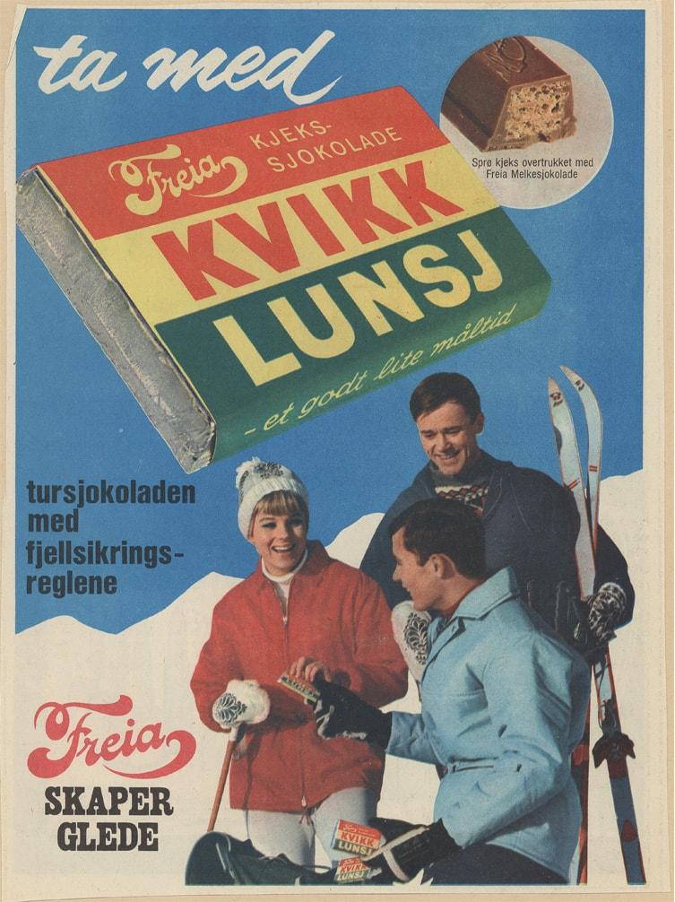 Werbung der norwegischen Traditionsmarke Kvikk Lunsj@Freia