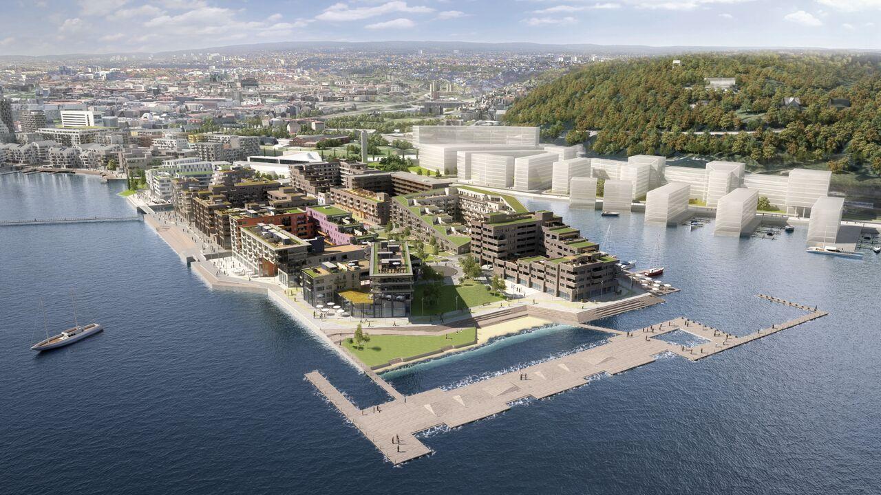 """Das Sørenga sjøbad mitten im Zentrum von Oslo wurde 2015 eröffnet. Es gehört zu einem vom Architekturbüro LPO arkitekter entwickelten Wohnkomplex in der norwegischen Hauptstadt. In der Ausstellung """"Nordic Urban Spaces"""" wird unter anderem über diesen Komplex informiert©Tove Laulute/Nordische Botschaften"""