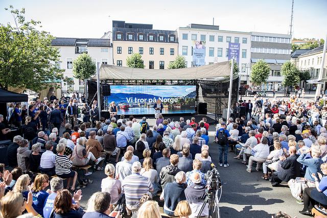 Norwegens Ministerpräsidentin Erna Solberg auf der Arendalsuka 2017. @Mona Hauglid