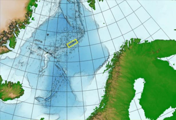 Das Gebiet, in dem das Mapping stattfinden wird, wird durch ein gelbes Quadrat auf der Karte angezeigt, das auch den sich ausbreitenden Grat zeigt.©NPD