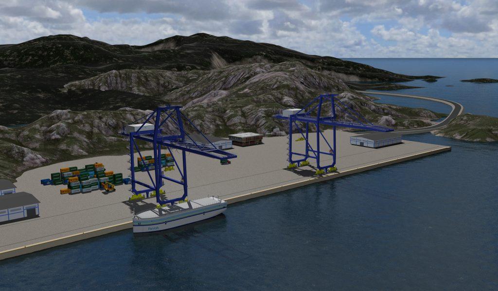 Illustration von ReVolt3, des autonomen, elektrischen Container-Feeder-Schiffes©DNV GL