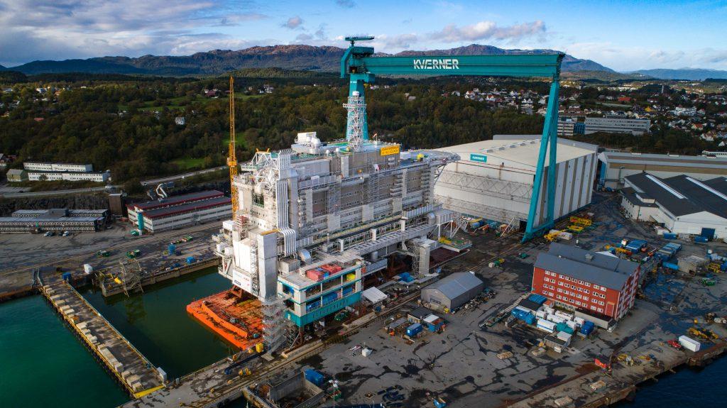 Mit Zimmern ist die Plattform für das Johan-Sverdrup-Feld die größte jemals gebaute Plattform©Kvaerner
