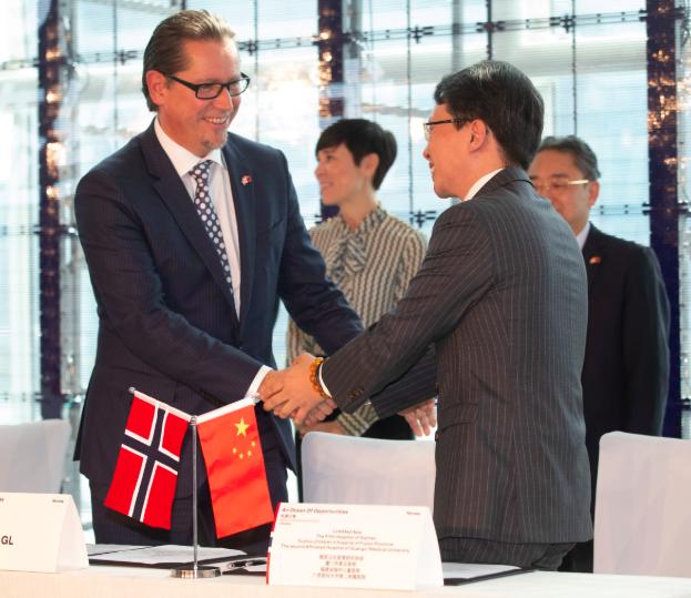 Das Zertifizierungs- und Klassifizierungsunternehmen DNV GL hat drei Abkommen in China unterzeichnet. Hier von der Unterzeichnung in Shanghai.©Tom Hansen