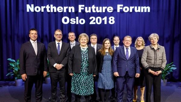 Die Ministerpräsidenten der nordischen länder, des Baltikums und des Vereinigten Königreices beim Northern Future Forum©Kilian Munch/Statsministerens kontor
