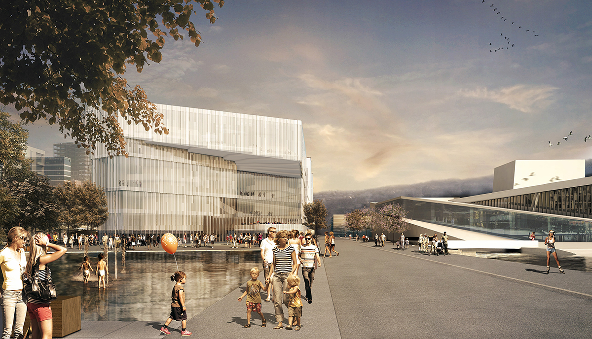 Die Deichman-Bibliothek neben der Osloer Oper wurde für einen Preis des World Architecture Festivals nominiert.©⁄nnovation Norway