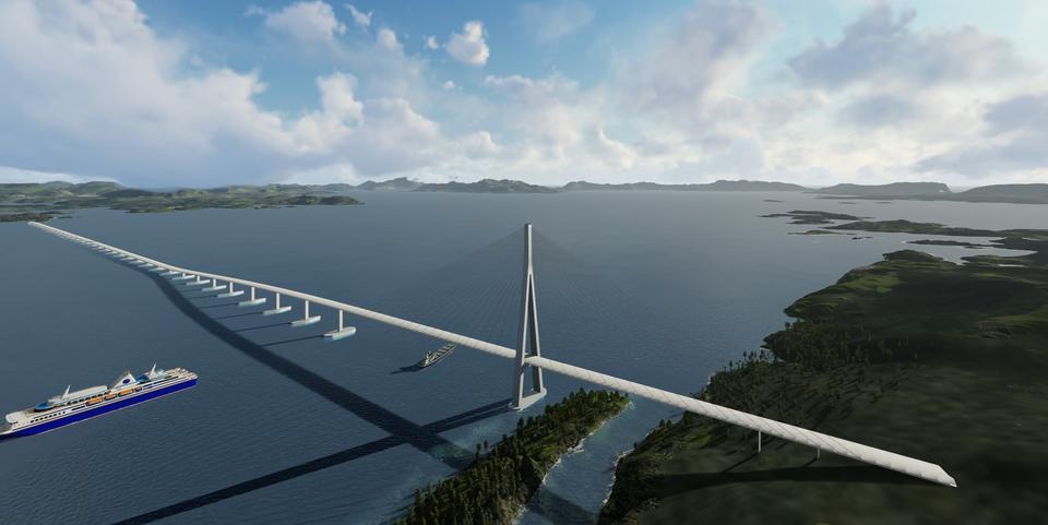 Die schwimmenden Brücke über denBjørnafjord ist eines der herausfordernsten Bauprojekte in Norwegen.©NPRA