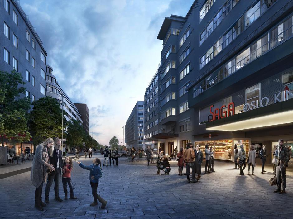 Wenn die Olav-Vs-Gate ab dem kommenden Jahr in eine Fußgängerzone umgebaut wird, sollen auf der Baustelle nur Fahrzeuge eingesetzt werden, die keine Emissionen.©Kommune Oslo