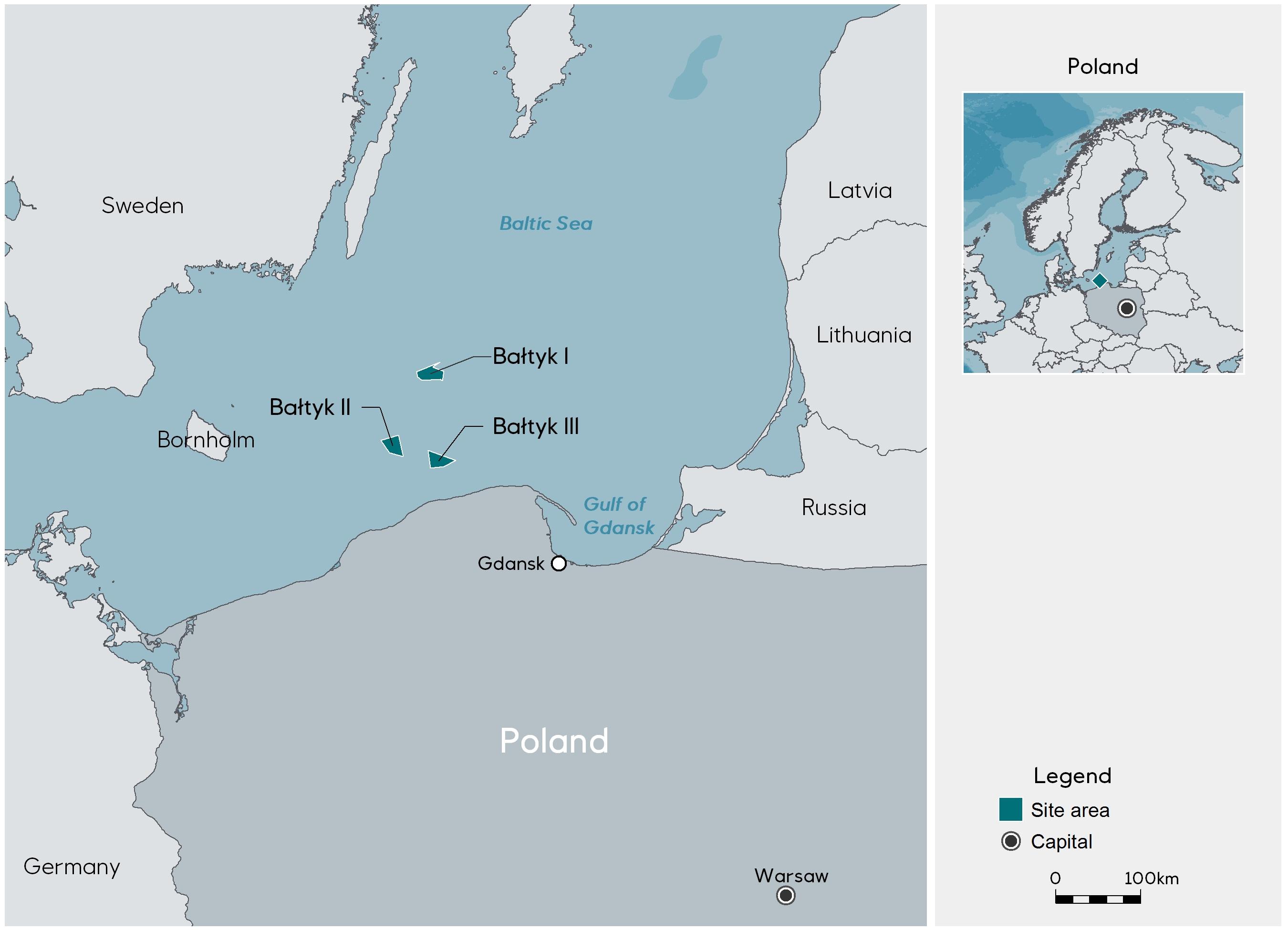 Standorte der Windparks in der Ostsee©Equinor
