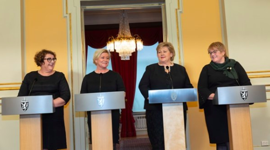 Olaug Vervik Bollestad, Siv Jensen, Erna Solberg und Trine Skei Grande.©Hans Kristian Thorbjørnsen