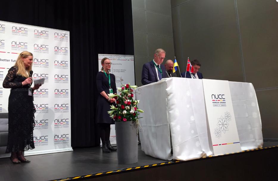 Vertragsunterzeichnung zum norwegisch-ukrainischen Businessforum in Oslo.@Staatliche Ukrainische Agentur für Energieeffizienz