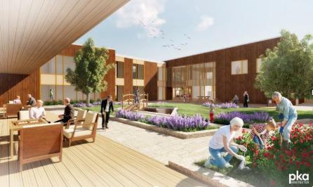 Illustration des Sozial- und Gesundheitszentrums Klæbu, das als Fallbeispiel bei der Entwicklung der Checkliste für Klimaneutrales Bauen verwendet wurde.©SINTEF/Architekten